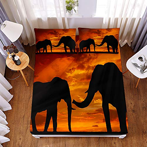 Bedding Fitted Sheets with 2 Pillowcases, Morbuy Ethnic Elephant Print Bedding Microfiber Soft Fade Resistant Bed Sheets for Single Double King Size Bedsheet Extra Deep 30cm (180 * 200 * 30cm,D)