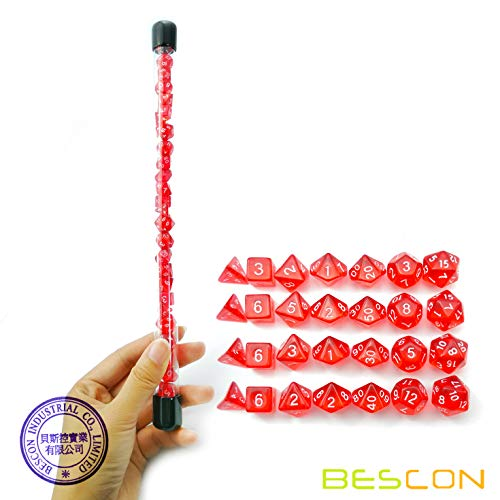 Bescon 28pcs Translucent Red Mini Polyhedral Dice Set in Tube, Ruby Dice Dungeons and Dragons 4X7pcs, Mini Ruby Gem Dice Set