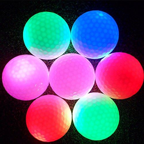 LED Bola Golf, Pelota Golf Intermitente Color Electrónica Luz Bola Golf para Entrenamiento de Práctica Deportiva de Noche Oscura (1 Piezas)