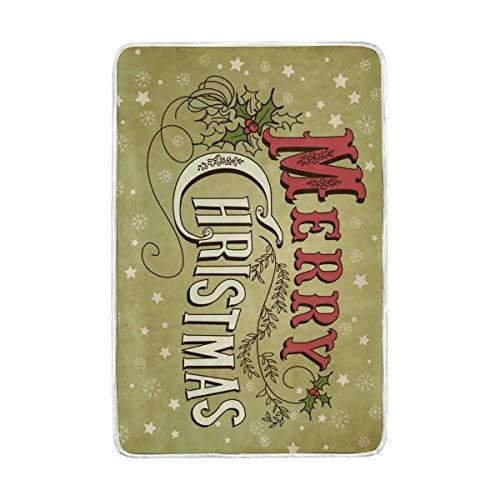 Betrothales Feliz Navidad Letras Manta Cálida Suave Casual Chic Mantas Ligeras para Cama Sofá Cama Sofá De Viaje Camping 90X60 Pulgadas para Niños Niños Niñas (Color : Colour, Size : Size)