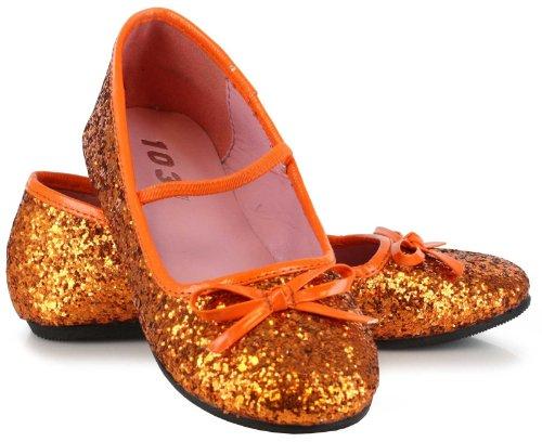 Ellie Shoes 212570 Orange Sparkle Ballet Flat Child Shoes - Orange - X-Small - 9-10