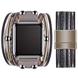 VIQIV Multi-Layer Wrap Bracelet Band Compatible with Apple Watch 42mm 44mm Sports Watches for Men Women, Magnetic Buckle Cuff Bracelet Jewelry Wrist Strap for iWatch Series SE 6/5/4/3/2/1, Gray