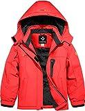 GEMYSE Girl's Waterproof Ski Snow Jacket Hooded Fleece Lined Windproof Winter Jacket (Orange Red,8)