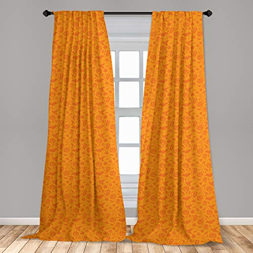 """Ambesonne Halloween Curtains, Monochrome Design with Traditional Halloween Themed Various Objects Pumpkin Bat Print, Window Treatments 2 Panel Set for Living Room Bedroom Decor, 56"""" x 63"""", Orange"""