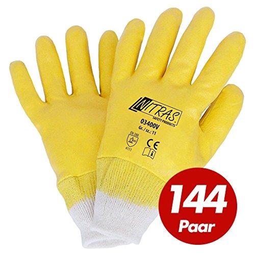 144 Paar NITRAS, gelb, vollbeschichtet, Strickb. 10 Grösse 10