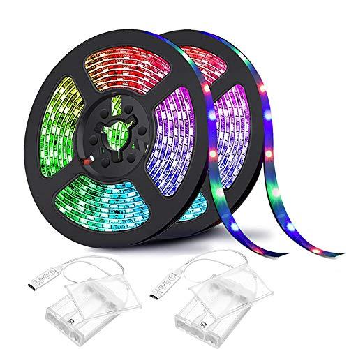 LED Streifen Batteriebetriebene,Sunboia LED Stripes 4M(2x2M) 120 LED RGB Lichtband Stripe Lichterkette LED Bänder SMD5050 Wasserdicht IP65 für Haus Küche TV Party Weihnachten