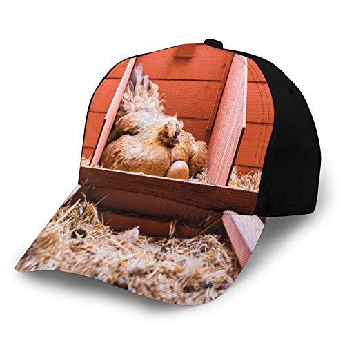 Sommer-Baseballmütze Unisex Schnelltrocknende Baseballmützen,Husbandry Photo with Laying Hen Incubating Inside Cage and Eggs, Verstellbarer Sonnenhut für Outdoor-Sportarten