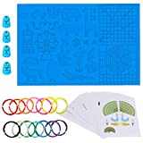 3D Printing Pen Mat Set-3D Pen Pad with 15 Pcs 1.75mm Filament Different Colors,40 Patterns and a Clear Plate,4 Silicone Finger Caps