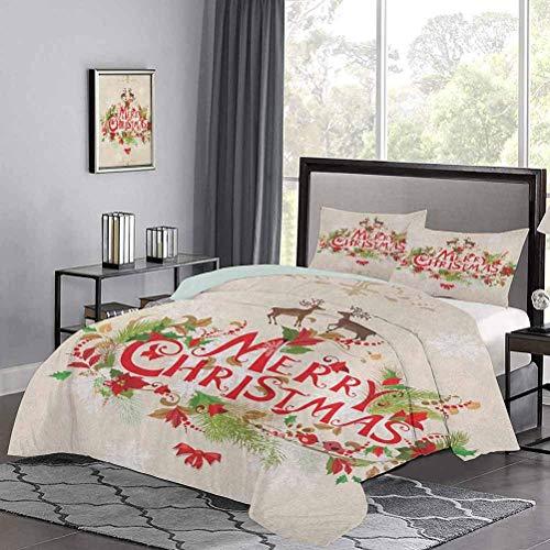 Yoyon Kinder 'Quilt Set Frohe Weihnachtswünsche mit Tannenzweigen Weihnachtsstern Blumen Süße Vögel und Hirsch Tröster Abdeckung Lassen Sie Schmelzen, während Sie schlafen Green Red Tan
