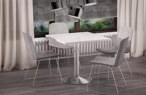 Esstisch Weiss Hochglanz quadratisch 80x80 Chrom Küchentisch Bistrotisch 80x80cm