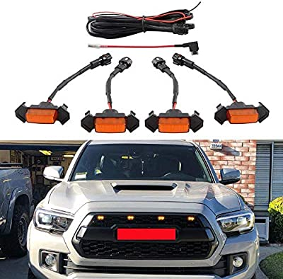 Amber LED Front Grille Lighting Kit with Fuse Adapter for 2016 2017 2018 Toyota Tacoma TRD Pro Grill(4 Pcs,Amber)