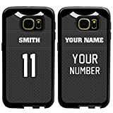 Custom Football Jersey Cases for Samsung Galaxy S7 by Guard Dog – Personalized – Put Your Name and Number on a Rugged Hybrid Phone Case. Includes Guard Glass Screen Protector (Black/Black)