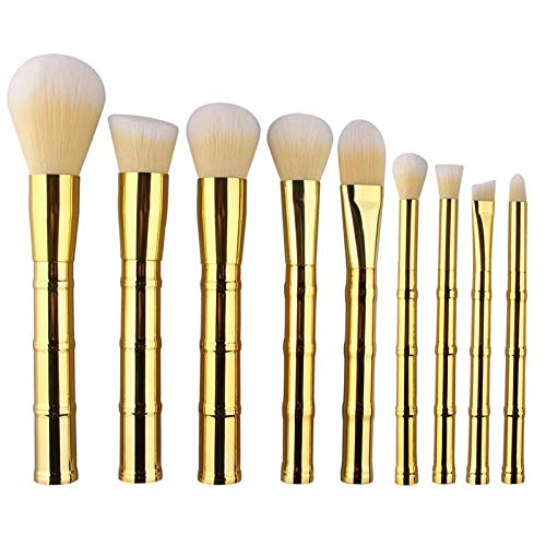 MEIMEIDA Pinceaux de maquillage Set Poignée en bambou Poudre de cheveux synthétique Sourcils Maquillage Pinceaux Outils Kit de brosse de fondation cosmétique, Or