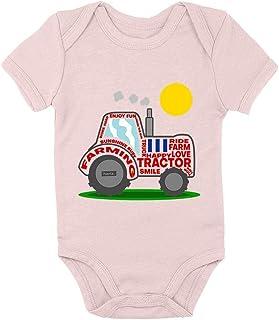 HARIZ Body de manga corta para bebé, tractor, sol, excavadora, tren y tarjeta de regalo