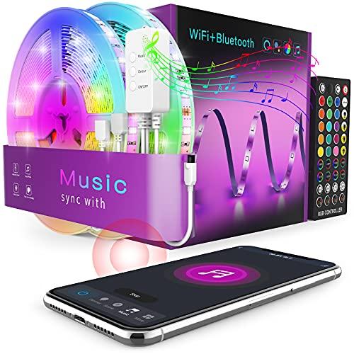 Alexa Striscia LED 15 Metri, Popotan Musica Strisce LED Compatibile con Amazon Echo e Google Home, 5050 SMD RGB Luci LED App Controllato, Multicolore per TV, Stanza da Letto, Feste e Decorazioni