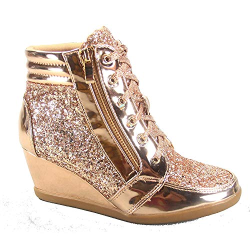 Forever Link Women's Fashion Glitter High Top Lace Up Wedge Sneaker Shoes,Rose Gold,8.5
