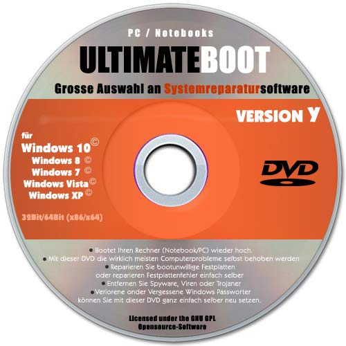 Ultimate Boot & Repair CD/DVD✔ Windows 10 / 8 / 7 / XP✔ Bootfähig✔ Notfall CD✔ System-Diagnose Software✔ Alle PCs & Notebooks✔