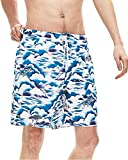 Lacoste Men's All Over Print Elastic Waist Swim Trunks, Willow/Lata-White, XL