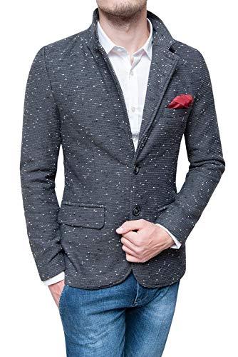 Evoga Giacca Blazer Uomo Invernale Tweed Elegante Slim Fit con Pochette da Taschino (L, Grigio)