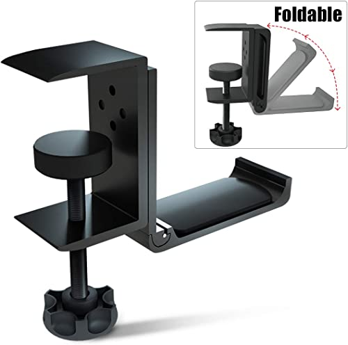 Foldable Headphone Stand Hanger Holder Bracket Aluminum Headphones Headset Clamp Hook Under Desk Space Save Mount Fol...