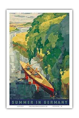 Pacifica Island Art - Sommer in Deutschland - Kajak Fahren - Retro Reise Plakat von Werner von Axster-Heudtlass c.1930s - Kunstdruck 31 x 46 cm