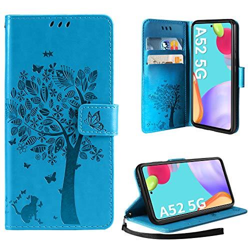 AROYI Funda Compatible con Samsung Galaxy A52 5G, Relieve Dibujo Carcasa Cuero Suave de la PU con Ranuras para Tarjetas Flip Funda Tipo Libro Soporte Plegable Magnético Carcasa Case - Azul