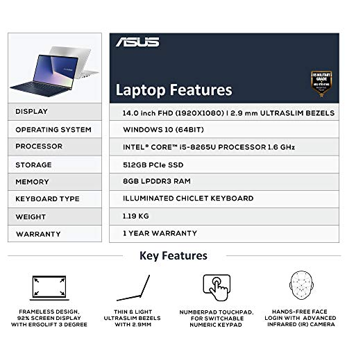 ASUS ZenBook 14 UX433FA-A6106T 14-inch FHD Thin and Light Laptop (8th Gen Intel Core i5-8265U/8GB RAM/512GB PCIe SSD/Windows 10/Integrated Graphics/1.19 Kg), Icicle Silver Metal