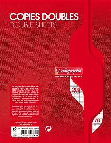 Calligraphe 2080C - Un paquet de copies doubles non perforées (gamme 7000 de Clairefontaine) 200 pages 17x22 cm 70g grands carreaux sous film