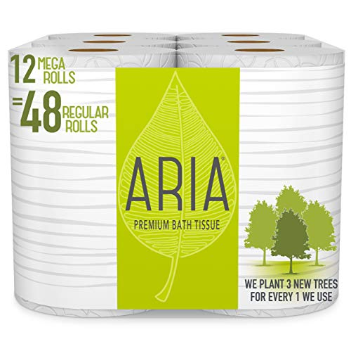 Aria Premium, Earth Friendly Toilet Paper, Eco Friendly Bath Tissue, Mega Rolls, 12 Count of 308 Sheets Per Roll