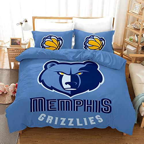 JinWensm NBA Memphis Grizzlies Juego de Ropa de Cama 2 Piezas Poliéster Microfibra Juego de Fundas de Edredón Incluye 1 Funda Nórdica 200x200 cm y 1 Funda de Almohada 50x75 cm