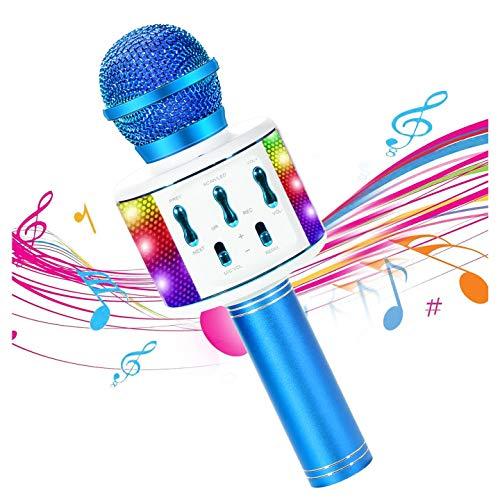 Micrófono Karaoke Bluetooth, 4 en 1 Microfono Inalámbrico Portátil altavoz con Luces...