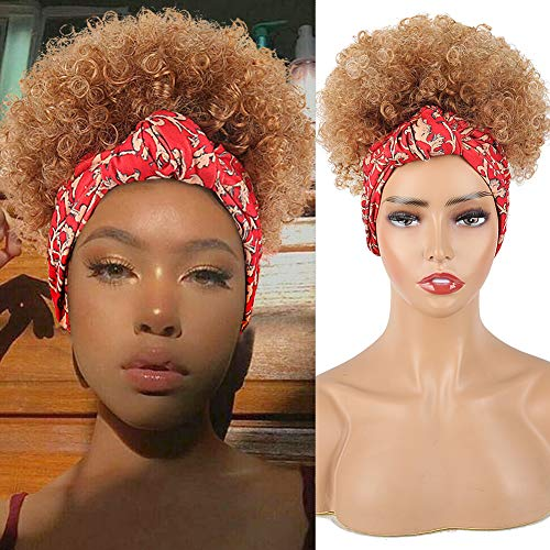 Aisaide Headband Wigs for Black Women,Short Ombre Brown Wig Curly Hair Wrap Wig Scarf Wig with Headband Attached Natural Curly Synthetic Wigs Afro Kinky Curly Wigs Afro Puff Wrap Wig 2 in 1 Kinky Wigs
