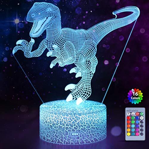 WHATOOK Dinosaurier-3D-Illusionslampe für Jungen, 16 Farben mit Fernbedienung, Smart-Touch-Nachtlicht, tolles Geschenk für Jungen und Mädchen