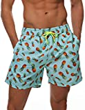 DOVAVA Men's & Boys Swim Trunks with Mesh Lining Quick Dry Bathing Suit Above Knee Boardshorts with Pockets, Small, Aquamarine Pineapple