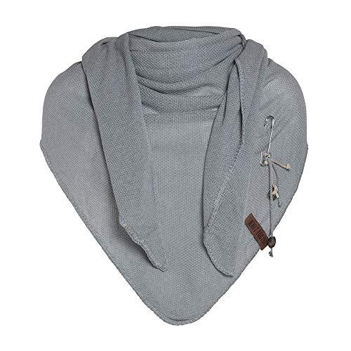 Knit Factory - Lola Dreieckstuch - Fein Gestrickter Damen Schal - Tuch Schal - Für Frühling und Sommer - Baumwollmix - Grau