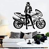 wZUN Pegatinas de Pared de Motocicleta calcomanías de Vinilo de piloto de Motocicleta Sexy Mujer Dormitorio Sala de Estar decoración de Pared 42X49 cm