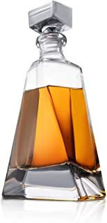 Atlas Whiskey Decanter – 22 oz Crystal Modern Decanter – Non-Lead Small Liquor Decanter with Stopper – Booze Decanter for Whiskey, Bourbon, Brandy, Liquor, and Rum – Scotch Bar Container