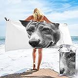 mengmeng Sketch Basenji - Toalla de secado rápido para deportes, gimnasio, viajes, yoga, camping, natación, súper absorbente, compacta, ligera, toalla de playa