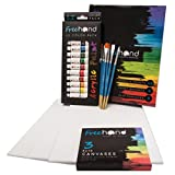 Acrylic Paint Set with Canvas for Kids and Adults With 12 Vibrant Paints, 6 Painting Brushes, 3 8x10 Canvases,...