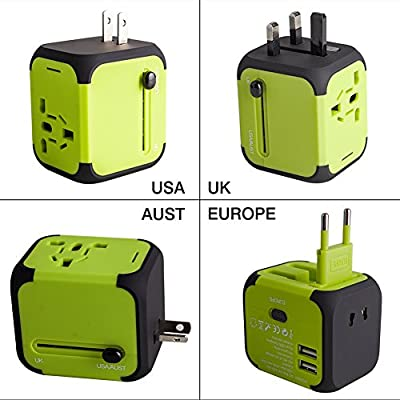 Travel Adapter Uppel Dual USB All-in-one Worldwide Travel Chargers Adapters for US EU UK AU about 151 countries Wall Universal Power Plug Adapter Charger with Dual USB and Safety Fuse (Green) by UPPEL