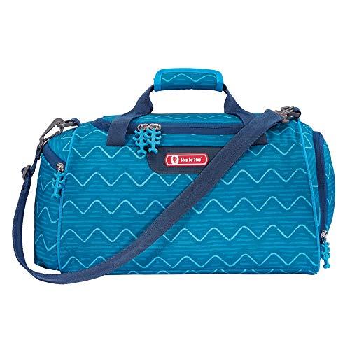 Step by Step Angry Shark - Bolsa de deporte con compartimento para ropa húmeda, correa de hombro ajustable, para niños y niñas, 13 l, color azul