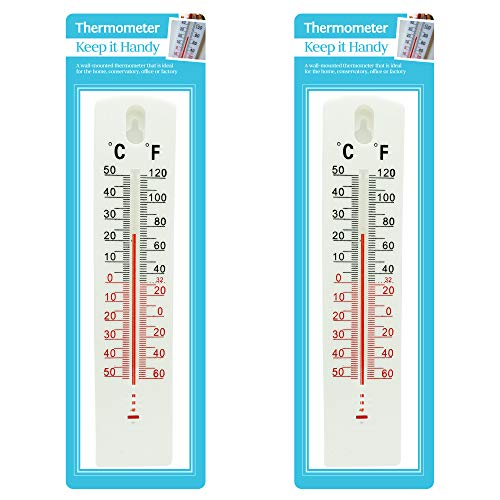 Keep it Handy 2 x WALL THERMOMETER Indoor Outdoor Home Office Garden Temperature Summer Mounted