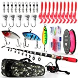 Telescopic Fishing Rod Reel Combos Full Kit, 1.9M/2.3M Collapsible Fishing Pole with Spinning Reel Braid Fishing Line Fishing Lures Hooks Fishing Carrier Bag for Travel Freshwater (2.3M/7.5FT)