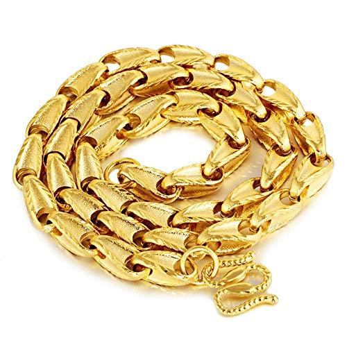 Kunze Collares Joyas de Cadena de Oro Grande de 24 k para Hombres Joyas de Collar Grueso de Oro