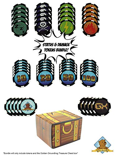 Golden Groundhog Custom Status Effects and Damage Counters Compatible with Pokemon - Includes Fire Poison Sleep GX Counter and 10-20 - 50-100 Damage Counters! Golden Groundhog Treasure Chest Box! image