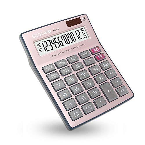 Sooiy Calculatrice de Bureau à Fonction Standard avec calculateur à 12 Chiffres pour Calculatrice de Bureau Scolaire, finances, Or Rose