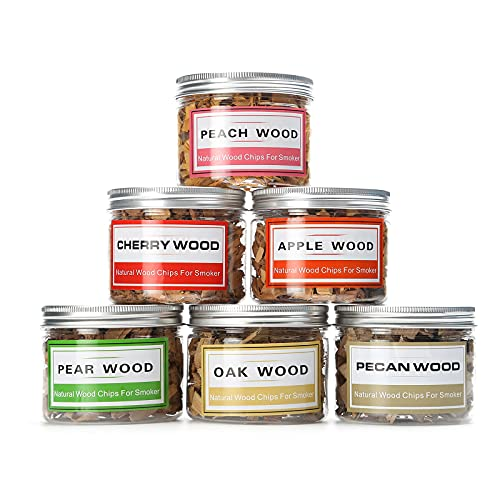 Natural Wood Chips for Smoker Grill and Smoking Gun 6 pcs Wood Chips Pecan, Oak, Cherry, Apple, Peach and Pear