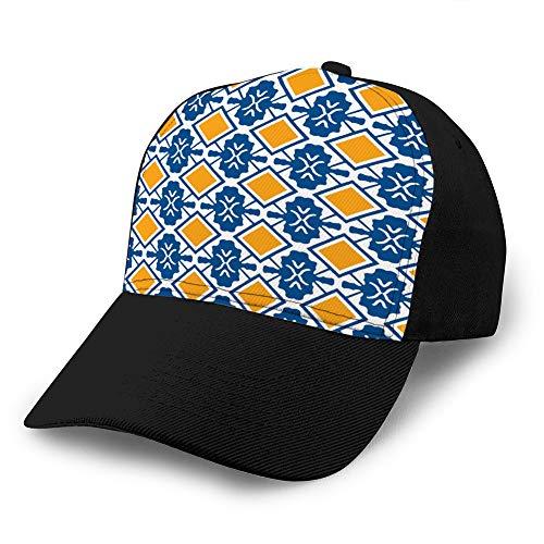 hyg03j4 4 Vintage Cap Hat Verstellbarer Baseballhut für Unisex Natural Portugiesische Fliesen Azule