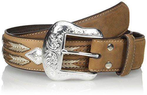 Nocona Belt Co. Men's Diamond Cncho Multi-Stitch, Medium Brown, 34