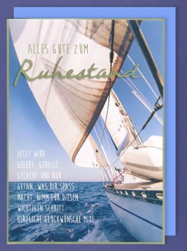 Riesen Karte Ruhestand Rente Pension Grußkarte Foliendruck Segelboot A4 Plus 3 Sticker